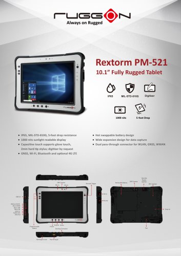 "PM-521 10.1"" Fully Rugged Windows / Android Tablet"