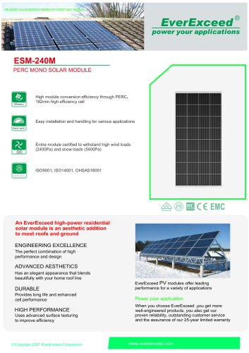 Monocrystalline photovoltaic solar panel ESM-240M