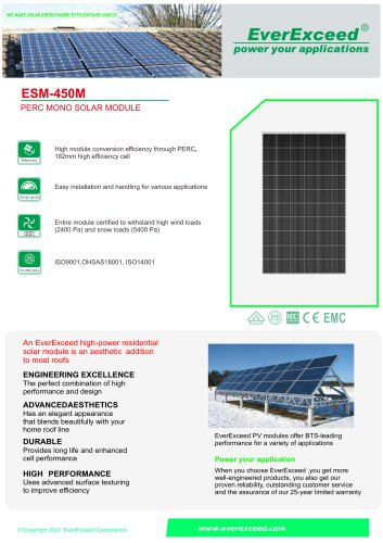 Monocrystalline solar panel ESM-450MH