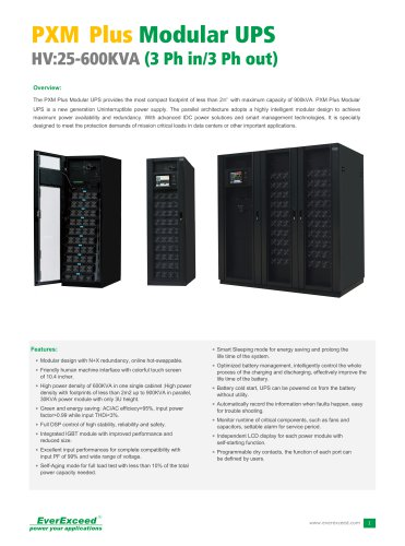 Parallel UPS 25-600kVA PXM Plus series
