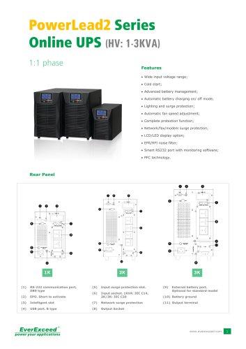 Single phase UPS 1-3kVA PowerLead2 series