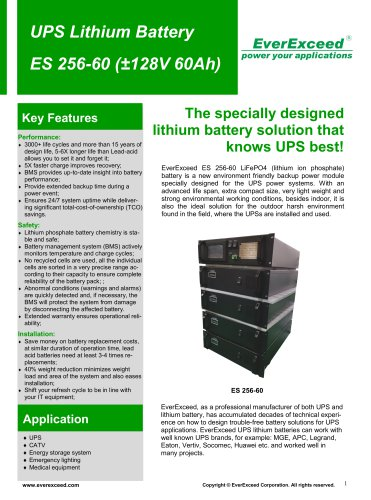 Valve-regulated battery ES256-60
