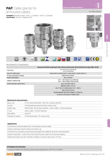 PAP Cable glands for armoured cables