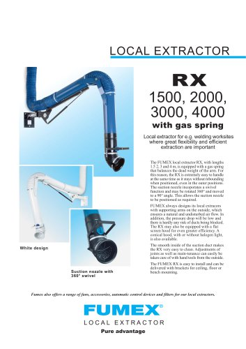 local extractor RX 1500, 2000, 3000, 4000 with gas spring
