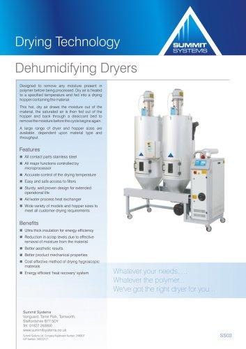Dehumidifying desiccant dryers