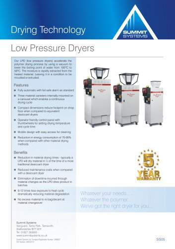 Low pressure dryers
