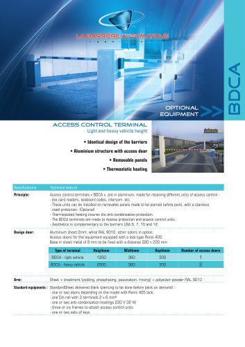 BDCA (Access control terminal-light and heavy vehicle)
