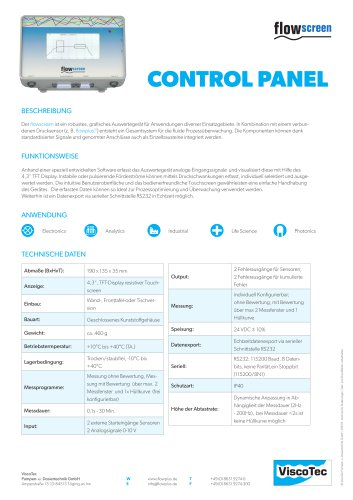 Control panel flowscreen