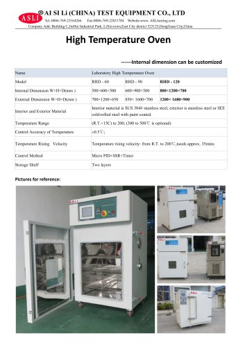 aging test chamber / temperature / stainless steel / temperature RHD-120
