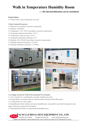humidity test chamber / humidity and temperature / environmental / walk-in  THR-Volume