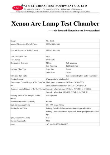 solar simulation test chamber / environmental / photostability / with xenon arc lamp XL-1000