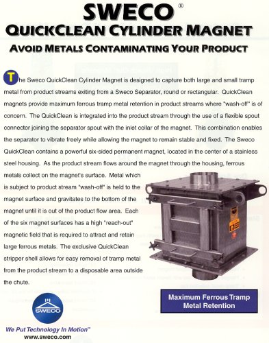 Sweco QuickClean Cylinder Magnet - Avoid Metals Contaminating Your Product