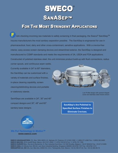 Sweco SanASep - For the Most Stringent Applications