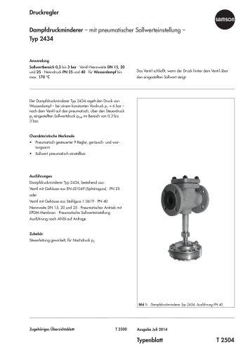 Dampfdruckminderer – mit pneumatischer Sollwerteinstellung – Typ 2434