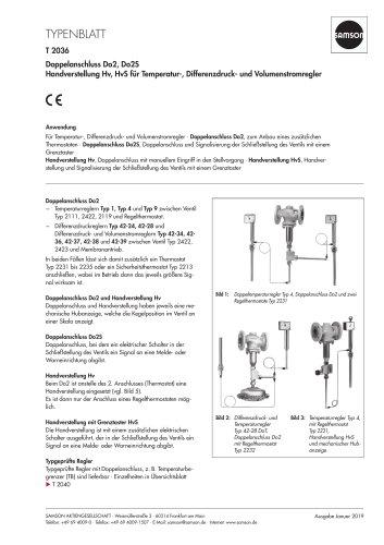 Doppelanschluss Do2, Do2S Handverstellung Hv, HvS für Temperatur-, Differenzdruck- und Volumenstromregler