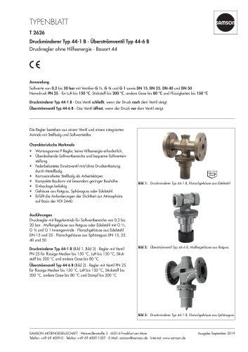 Druckminderer Typ 44-1 B · Überströmventil Typ 44-6 B