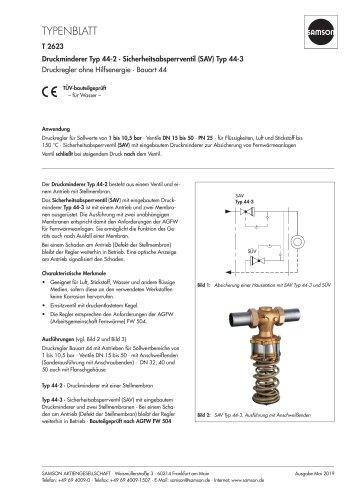 Druckminderer Typ 44-2 · Sicherheitsabsperrventil (SAV) Typ 44-3