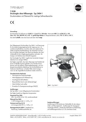 Druckregler ohne Hilfsenergie · Typ 2404-1