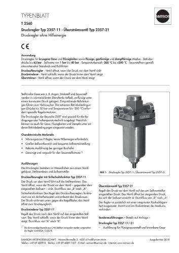 Druckregler Typ 2357-11 · Überströmventil Typ 2357-21