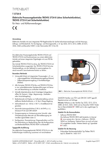 Elektrische Prozessregelantriebe TROVIS 5724-8 (ohne Sicherheitsfunktion), TROVIS 5725-8 (mit Sicherheitsfunktion)