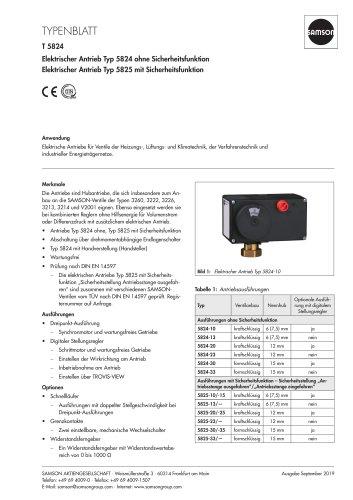 Elektrischer Antrieb Typ 5824 ohne Sicherheitsfunktion