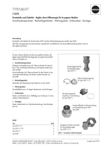 Ersatzteile und Zubehör · Regler ohne Hilfsenergie für kryogene Medien