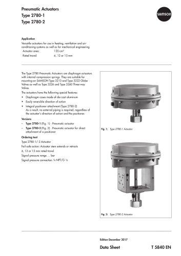 Pneumatic Actuators Type 2780-1 Type 2780-2