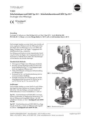Sicherheitsabsperrventil (SAV) Typ 33-1 · Sicherheitsüberströmventil (SÜV) Typ 33-7