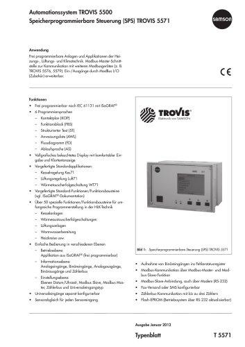 Speicherprogrammierbare Steuerung (SPS) TROVIS 5571