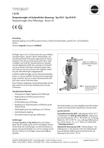 Temperaturregler mit hydraulischer Steuerung · Typ 43-8 · Typ 43-8 N