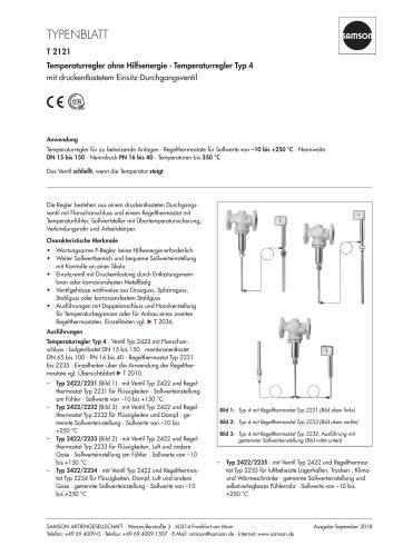Temperaturregler ohne Hilfsenergie · Temperaturregler Typ 4
