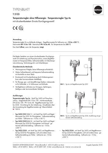 Temperaturregler ohne Hilfsenergie · Temperaturregler Typ 4u