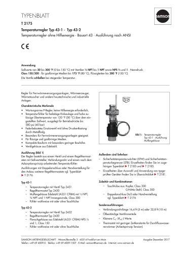 Temperaturregler Typ 43-1 ·  Typ 43-2 Temperaturregler ohne Hilfsenergie · Bauart 43