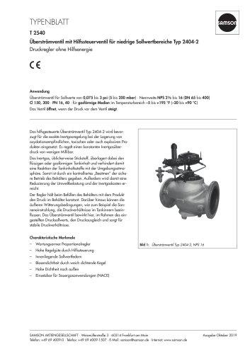 Überströmventil mit Hilfssteuerventil für niedrige Sollwertbereiche Typ 2404-2