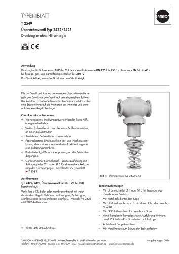 Überströmventil Typ 2422/2425