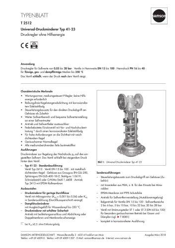 Universal-Druckminderer Typ 41-23