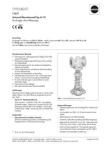 Universal-Überströmventil Typ 41-73