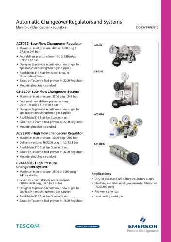 automatic Changeover regulators and systems