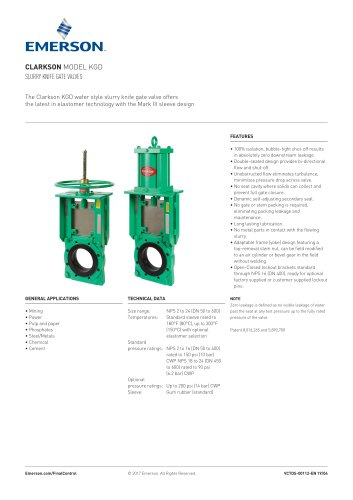 CLARKSON MODEL KGD SLURRY KNIFE GATE VALVES