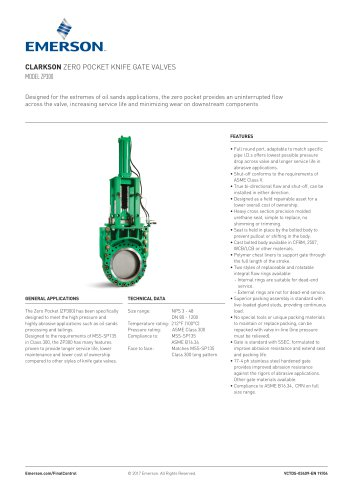 CLARKSON ZERO POCKET KNIFE GATE VALVES MODEL ZP300