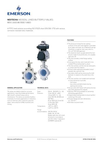Neotecha NeoSeal lined butterfly valves Wafer, lugged and double flanged