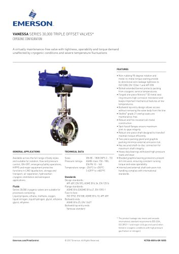 Vanessa Series 30,000 Triple Offset Valves* Cryogenic Configuration