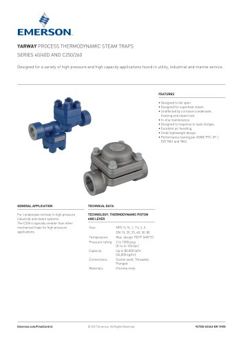 YARWAY PROCESS THERMODYNAMIC STEAM TRAPS SERIES 40/40D AND C250/260