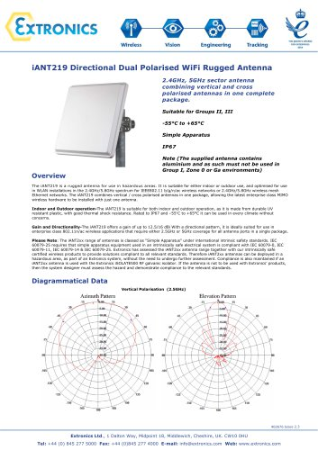 Dual Polarised Directional Hazardous Area Antenna iANT219