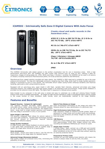 Intrinsically Safe Digital Camera iCAM502 Autofocus