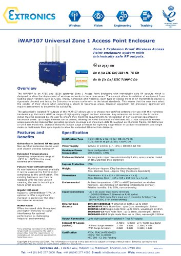 Universal Zone 1 Access Point Enclosure iWAP107