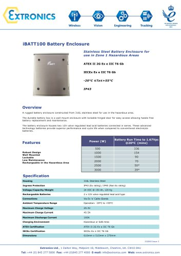 Zone 1 Stainless Steel Battery Enclosure iBATT100