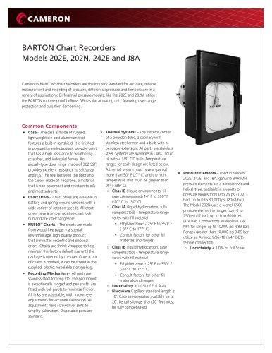 BARTON Chart Recorders Models 202E, 202N, 242E and J8A