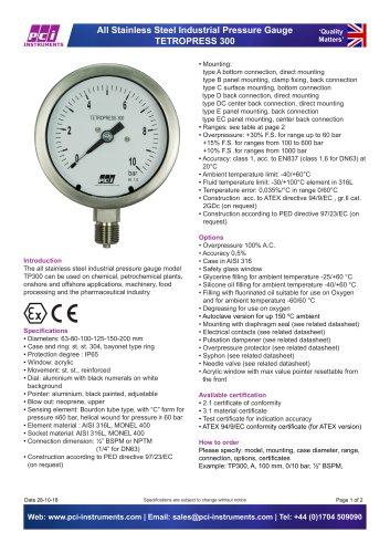 All Stainless Steel Pressure Gauge TP300 ( Tetropress 300 )