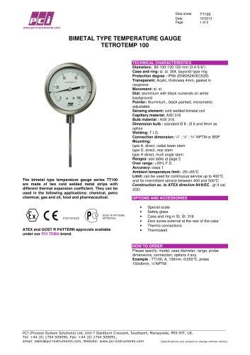 Bimetal Type Temperature Gauge TT100 ( Tetrotemp 100 )
